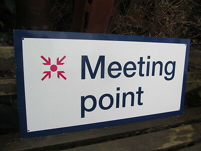Large Reclaimed  Original Trains Station  Meeting Point Metal Sign