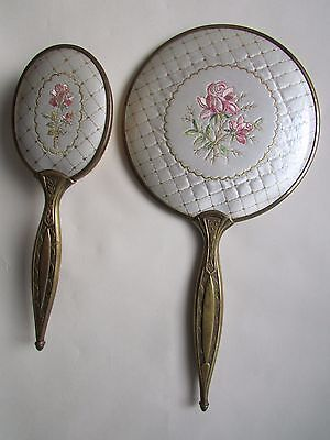 Vintage Hand Held Bevelled  Mirror And Brush, Embroidered Backs, Brass.