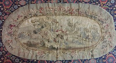 """ANTIQUE 18C AUBUSSON FRENCH HAND WOVEN Silk TAPESTRY PANEL 22"""" by 45"""""""