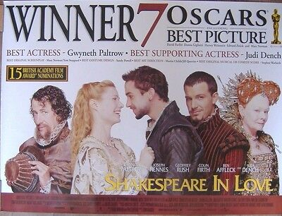 Shakespeare in Love (1998) Original Rolled UK Quad Movie Poster 'Oscars Version'
