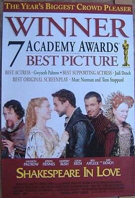 Shakespeare in Love (1998) Original Intr One-Sheet Movie Poster 'Oscars Version'