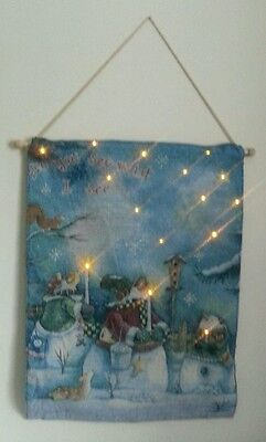 Stunning snowmen snowman wall hanging xmas tapestry picture with LED lights. NEW