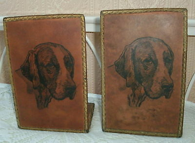 Foxhound Leather On Metal Braided Cloth Edge Bookends Dog Ornament
