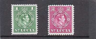 St.LUCIA GV1 1949-50 new currency 1c-2c sg 146-47 .H.MINT