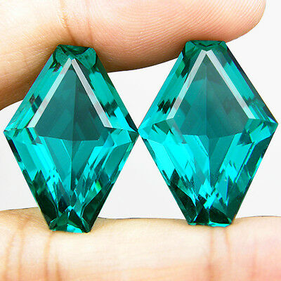 36.60 CT. MATCHING PAIR FANCY CUT GREEN BLUE PARAIBA NANO APATITE 23 x 16.8 MM
