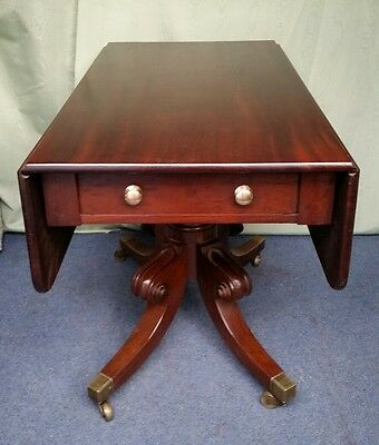 Georgian Mahogany SofaTable/Side Table with Long Drawer & column centre base