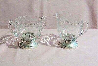 Sheffield Silver Co. NY Sterling and Glass Sugar and Creamer.