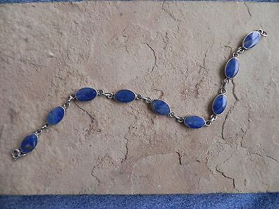 Oval Lapis & Sterling Silver .925 link Bracelet from Thailand