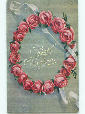 Unused Pre-Linen BEAUTIFUL WREATH OF PINK ROSE FLOWERS WITH RIBBON k4184