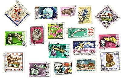 19 Mongolia postage stamps, used, off paper