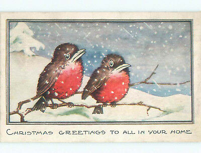 Pre-Linen christmas BEAUTIFUL LARGE BIRDS SITTING ON BRANCH J1766
