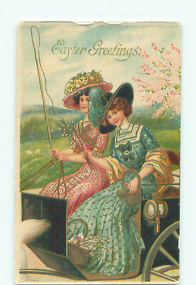 Pre-Linen fashion foreign PRETTY WOMEN IN COLORFUL DRESSES DRIVE CARRIAGE J4458