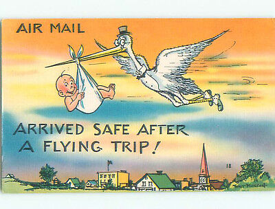 Unused Linen comic STORK DELIVERS BABY BY AIRMAIL k3457-12