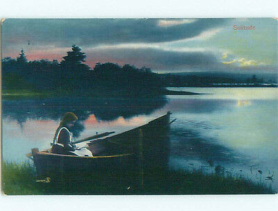 Pre-Linen SOLITUDE - WOMAN ALONE IN ROWBOAT READING A BOOK k7655
