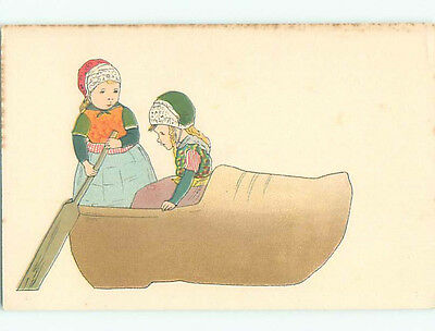 Unused Pre-Linen foreign GIRL ROWS GIANT SHOE LIKE A BOAT k7045
