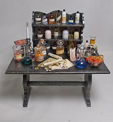 Dolls house Miniature Filled Table APOTHECARY/  POISONER'S PARADISE
