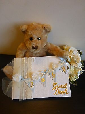 Beautiful 'Shabby chic bunting'  Baby Shower guest book