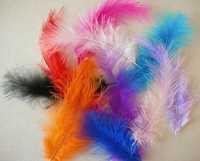 10 Fluffy Marabou Feathers  8-15cm ~ Card Crafts, Embellishments ~ 10 Colours