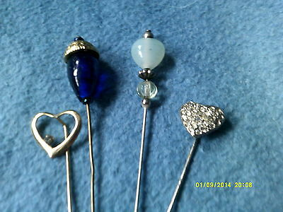 Hat Pins Collection Of Four Different Ones Two Beaded Two Heart Ones