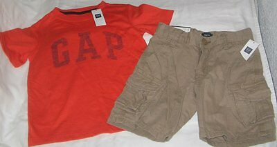 NWT Boys 5 GAP 2 Pc Outfit Cargo Shorts and Short Sleeve Logo Top NEW
