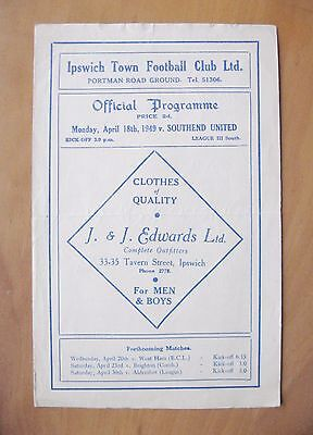 IPSWICH TOWN v SOUTHEND UNITED 1948/1949 *VG Condition Football Programme*