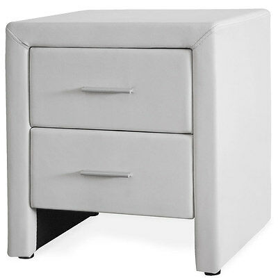CORIUM Night table mit 2 Drawers White imitation leather Bedside Side