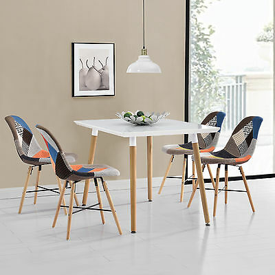 [en.casa] Dining table with 4 Chairs bunt Dining room set Living room Patchwork