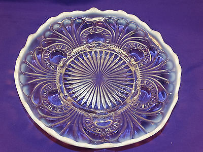 """Vintage Eapg Jefferson Glass White Opalescent """"tokyo"""" Footed Cake Plate #3"""