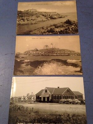 Lot Of 3 York Beach Maine Photo Postcards Cliff House Nubble Light Dining Room