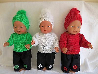 Baby Born  Dolls Clothes Green White And Red Hand Knitted Outfit Set