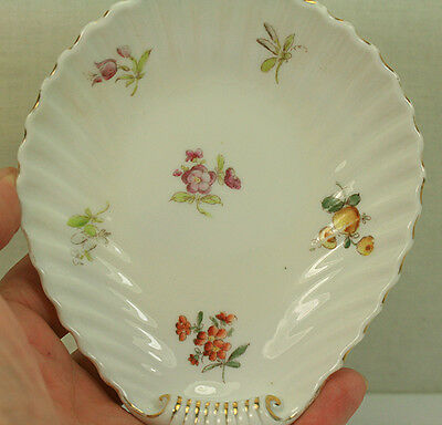 Antique Meissen Shell Shaped Nappy Bone Dish Fruit And Flowers Decals