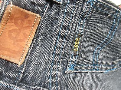 sz 3T 3 True Vtg 1980s Boys 19x13 BLACK DENIM LEE RIDERS JEANS USA