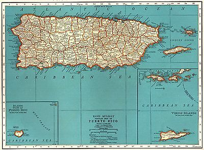 1937 Vintage PUERTO RICO Map Vintage Map of Puerto Rico Gallery Wall Art #3422