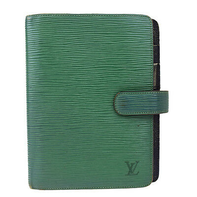 Auth LOUIS VUITTON Agenda MM Day Planner Cover Epi Leather Green R20044 07A729