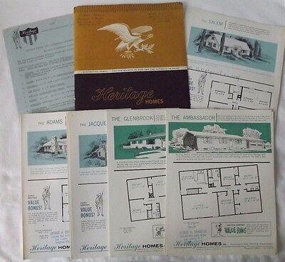 Vintage Heritage Homes Brochure Packet Floor Plans & Dimensions For 26 Houses