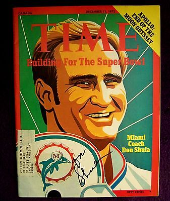Signed Autographed 1972 Time Magazine Don Shula HOF Miami Dolphins 17-0 NFL