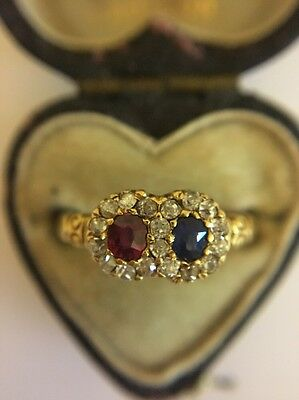 Victorian Antique 18ct Yellow Gold Ruby Sapphire Diamond Double Love Ring