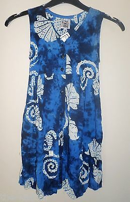 size 2 girls cute batik sun dress BNWT blue Summer casual beach play cool & soft