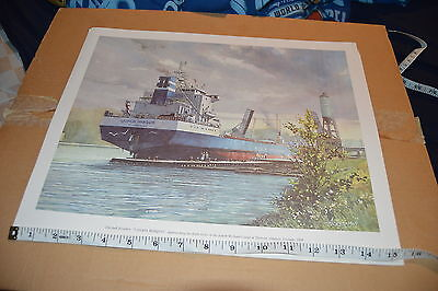 Great Lakes and ocean gearless bulk carrier Canada Marquis print 15.5 X 12.5