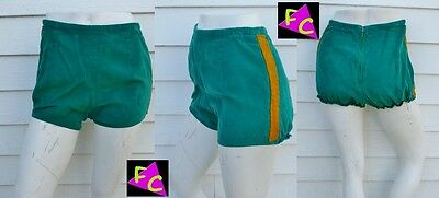 60s HIGH WAIST shorts HOT PANTS ROCKABILLY GREEN YELLOW STRIPE PINUP XS 28 short