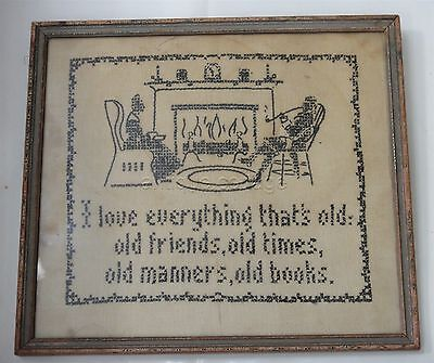 antique  BLACK SILHOUETTE CROSS-STITCH SAMPLER old friends, manners, books