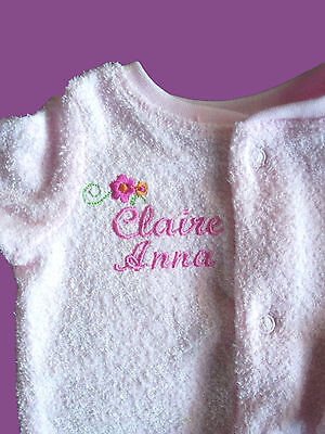 Personalised Baby Bodysuit Jumpsuit Growsuit Any Name Blue or PInk Gift Twins