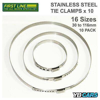 Firstline Stainless Steel Tie Clamps [10 Pack] Automotive Maintenance Repairs