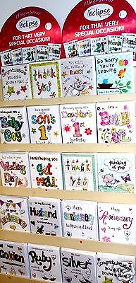 OCCASION CARDS by 'ECLIPSE' x 180 JUST 37p!,with inserts, wrapped,15 DESIGNS X 1