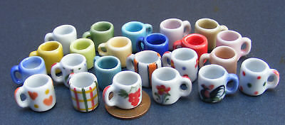 1:12 Scale 2 Ceramic Coffee Mugs Dolls House Miniature Kitchen Drink Accessory