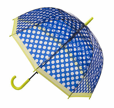 Soake Clear Dome Umbrella - Dark Blue Polka Dot