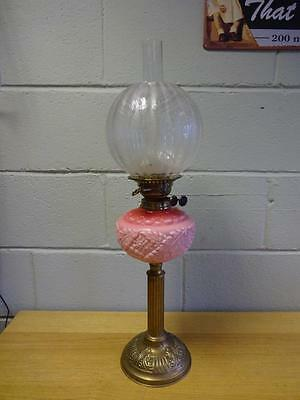 Antique Pink Glass Victorian Oil Lamp With Duplex Burner & Acid Etched Shade