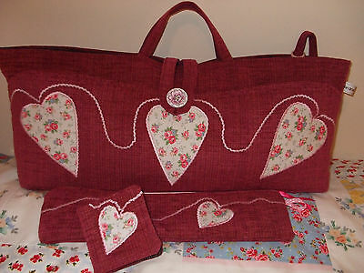 Knitting Bag Pink Handmade Hearts Applique In Cath Kidston Fabric