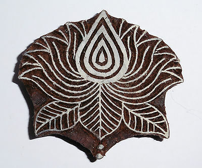 Lotus Flower Shaped 9cm x 8cm Indian Hand Carved Wooden Printing Block (LT6)