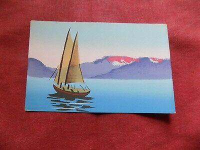 TRANSPORT: BOAT with mountains colour Handpainted